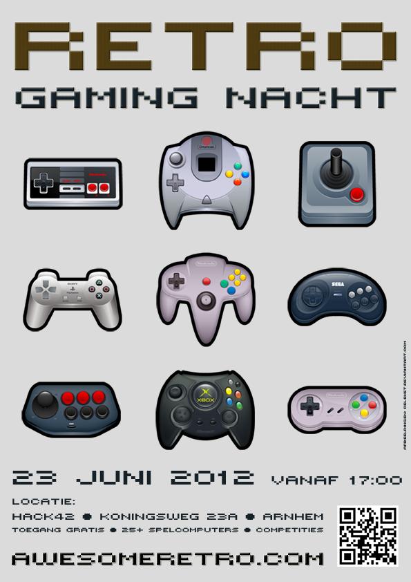 retro gaming nacht controller poster web